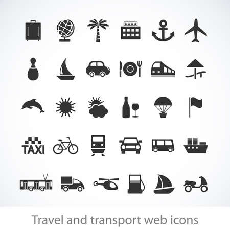 ship icon: Travel and transport buttons set