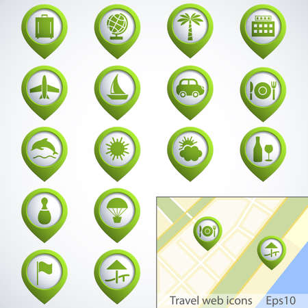 internet cafe: Travel web buttons set with map Illustration