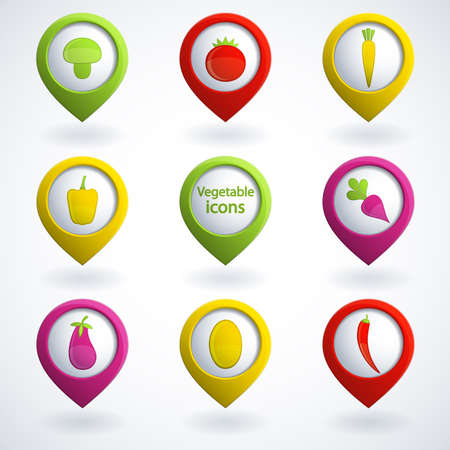 button mushroom: Set of colorful vegetable icons.