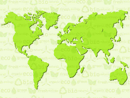 pollution free: Eco background with World map.