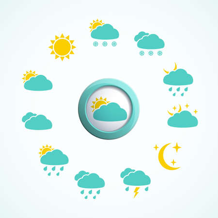cold weather: 3d button with Weather icons set.