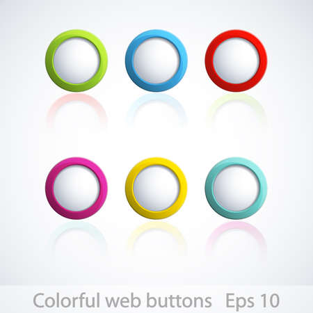 Set of colorful 3d buttons. Stock Vector - 15471197