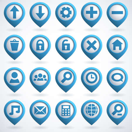 Set of 3d Web Icon.  Vector