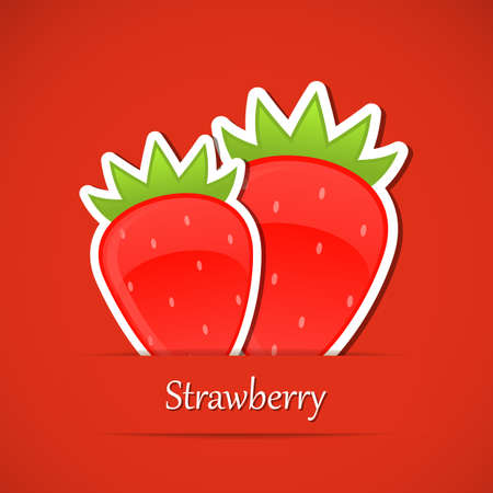 Berry label. Strawberry Vector