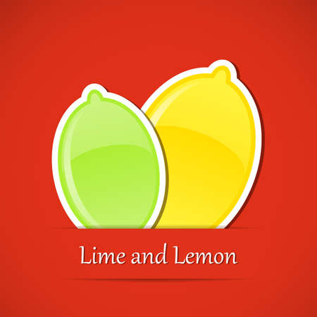 水果標籤。檸檬和酸橙