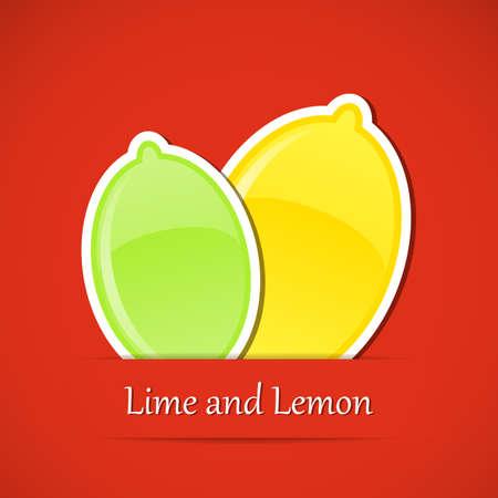 lime: Fruit label. Lemon and lime