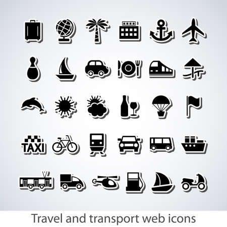 refueling: Travel and transport buttons set