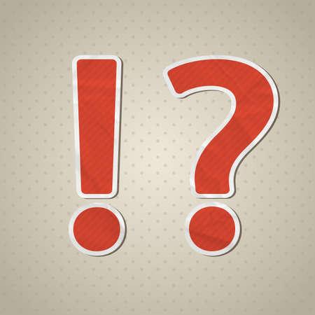 exclamation mark: Signo de interrogación y exclamación en estilo retro Vectores