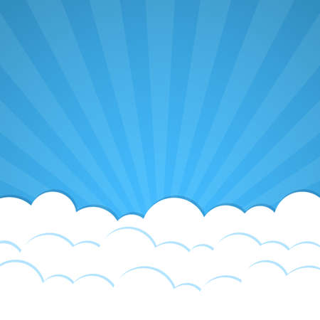 background sky: Abstract background with Rays and clouds.    Vector illustration. Illustration