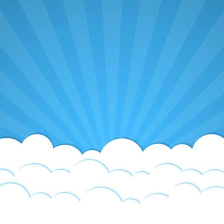 Fondo abstracto con los rayos y las nubes. Vector ilustración.