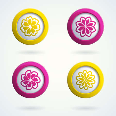 Set of 3d buttons with flowers.  Stock Vector - 16234536