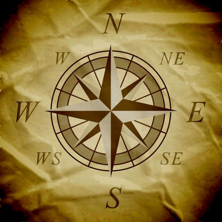 compass rose: Wind rose on an old paper.  Illustration