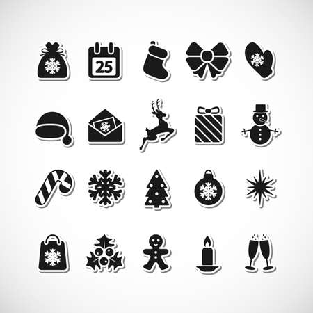 christmas bauble: Set of Christmas icons. Vector illustration.