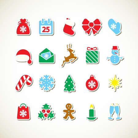 Set of Christmas icons. Vector illustration. Stock Vector - 16478360