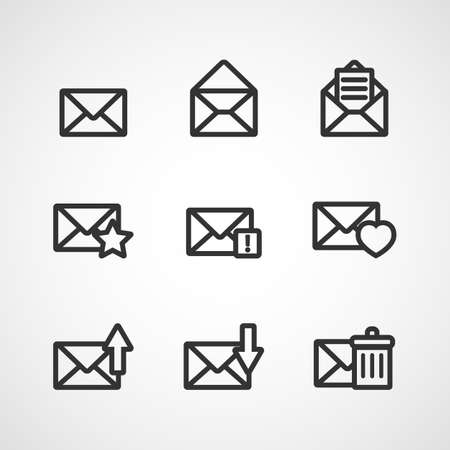 spam mail: Set of icons for messages. Vector illustration. Illustration