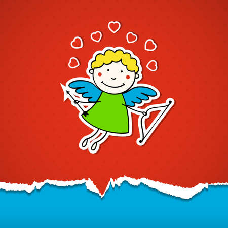 Valentines Day background with cupid. Vector