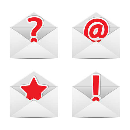 A set of envelopes with symbols e-mail messages. Vector