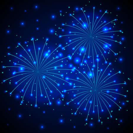 ligh: Blue fireworks exploding in the night sky.