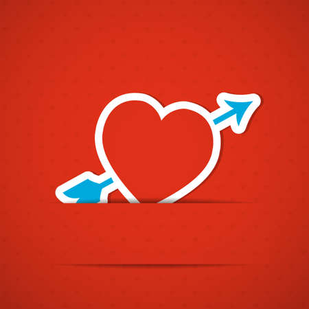 Red Valentine's Day background with heart. Vector