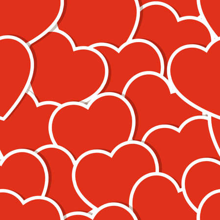 Seamless background with red hearts. Vector