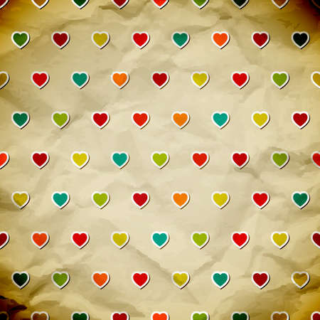 old wallpaper: Seamless background with colorful hearts.