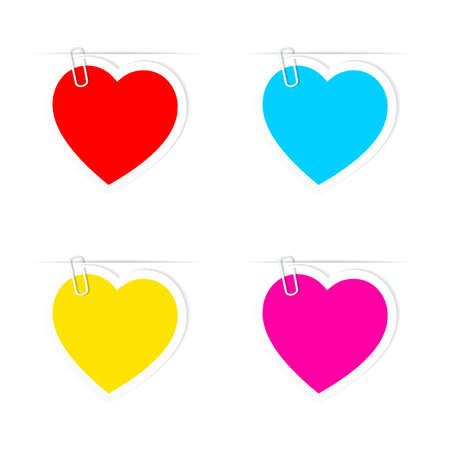 amour: Set of Valentines Day  heart paper frames. Illustration