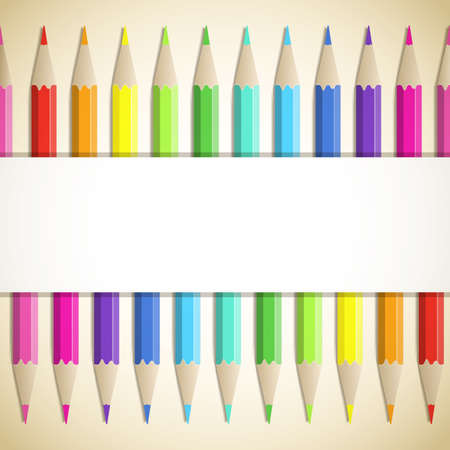 Background with frame of colored pencils. Stock Vector - 17155577