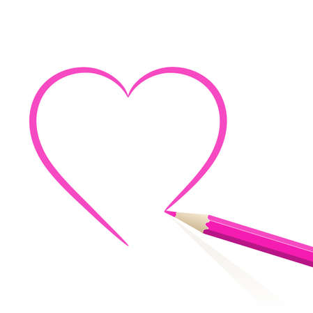 ar: Pink heart drawn in pencil. Vector illustration. Illustration