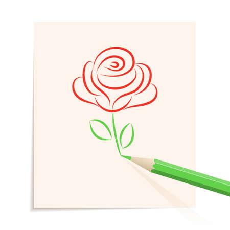 clip art draw: Rose drawn in pencil.