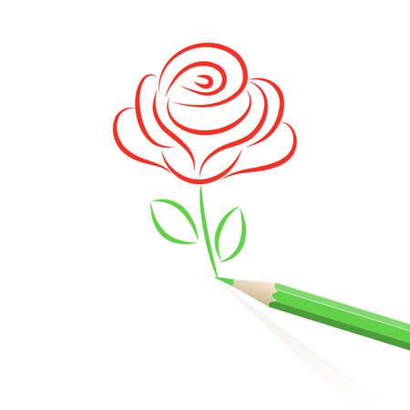 rose silhouette: Rose drawn in pencil.