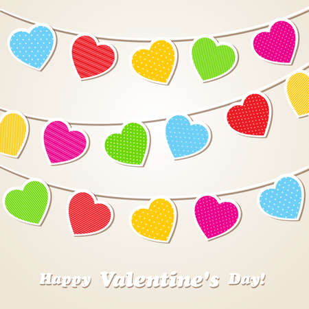 suspend: Valentines Day background with hearts. Vector illustration Illustration
