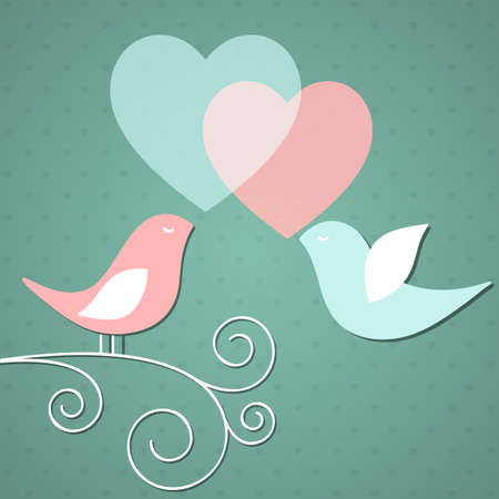 Valentines background with birds Vector