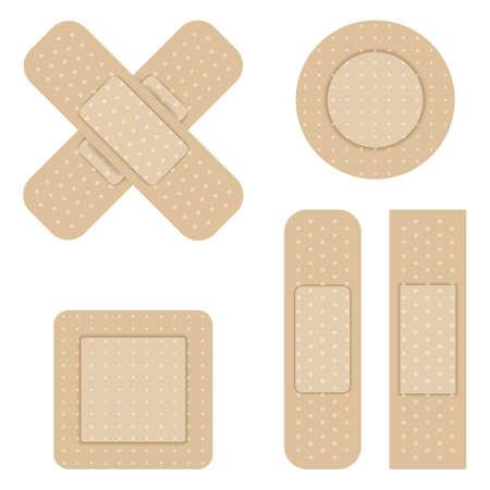 body wound: Set of Adhesive bandage. Vector illustration. Illustration