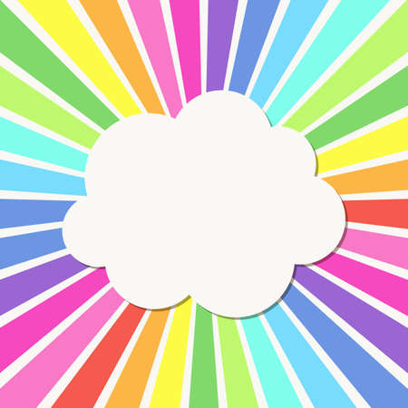 rainbow sky: Abstract background with Rays and cloud frame
