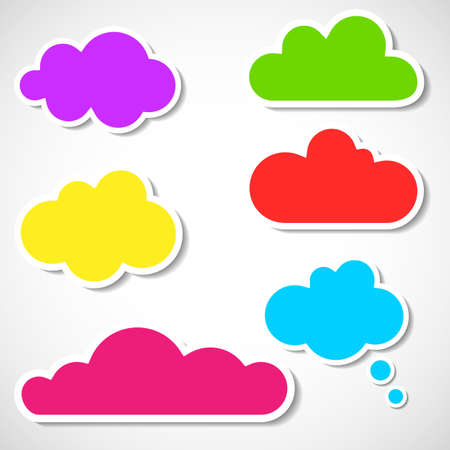 A set of multicilored frames in the form of clouds.  Stock Vector - 17738719