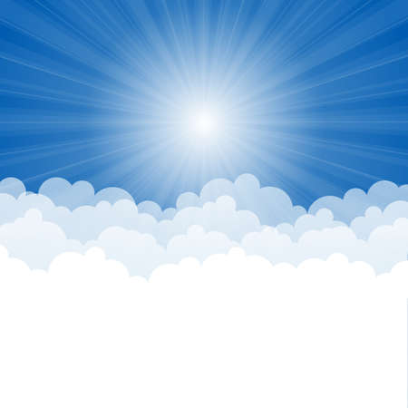 cloud sky: Abstract background with Rays and clouds. Vector illustration. Illustration