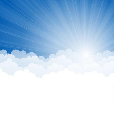 nubes cielo: Fondo abstracto con los rayos y las nubes Vectores