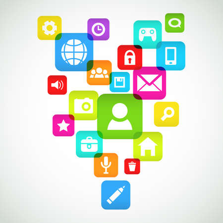 media gadget: Background  With Social media icons  Vector illustration