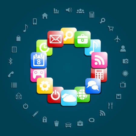 mobile communications: Background  With Social media icons.