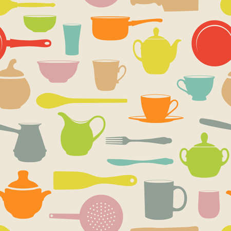 colander: Retro Seamless with silhouettes dishes. Illustration