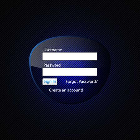 fondo luminoso: Formulario de acceso transparente en un fondo oscuro con luz de fondo azul.