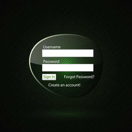 authentication: Transparent login form on a dark background with green backlight.  Illustration