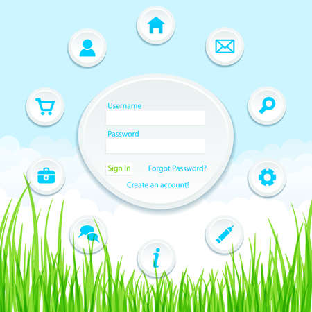 Site template on nature background  Vector illustration  Vector