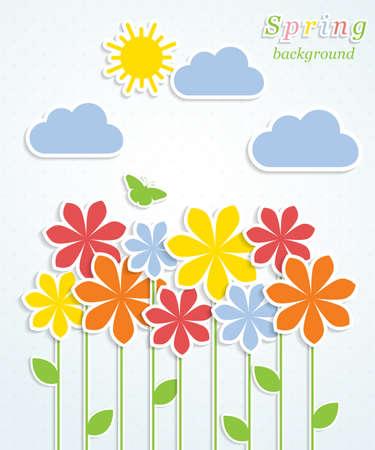 Fondo del resorte abstracto con ilustración vectorial flores coloridas