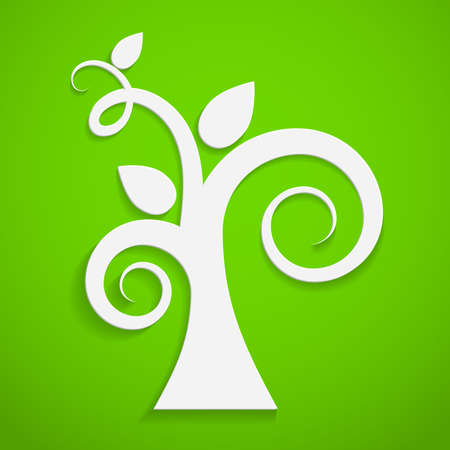 pollution free: Eco icon  Paper tree on green background  Vector illustration