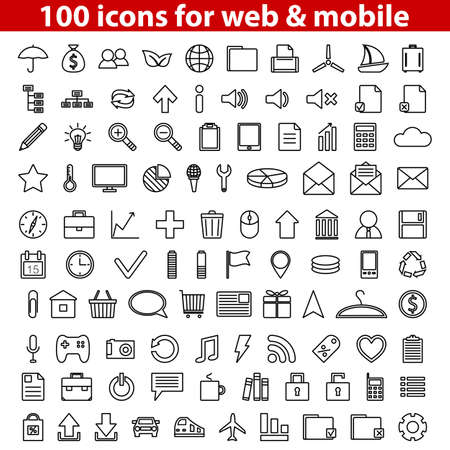 Set of 100 universal icons for web and mobile  illustration