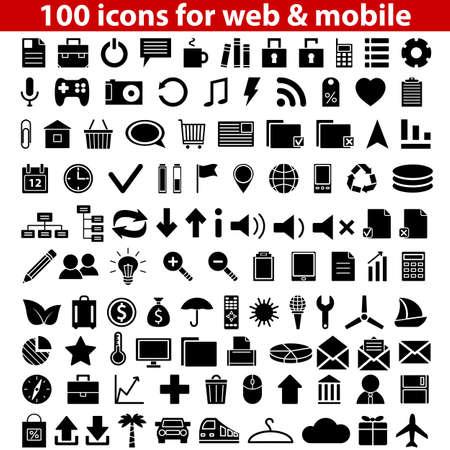 보편적 인: 웹 및 모바일 벡터 일러스트 레이 션을위한 100 보편적 인 아이콘의 세트 일러스트