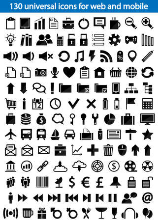Set of 130 universal icons for web and mobile  illustration Stock Vector - 20175349