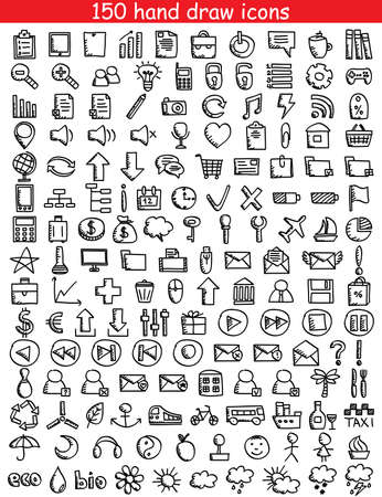 Set of 150 drawing icons for web and mobile  illustration Reklamní fotografie - 20175371