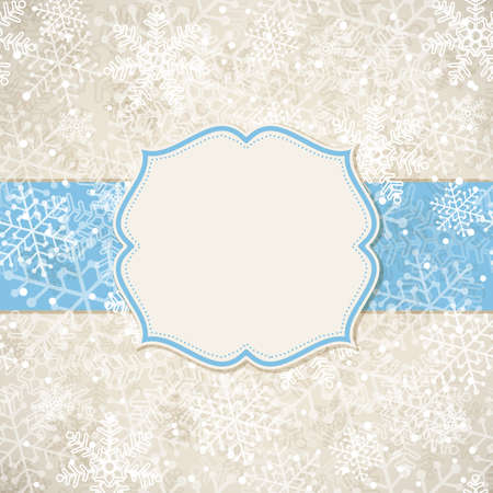 ardboard: The Christmas frame on the background of snowflakes. Vector illustration.
